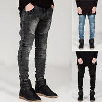 Fashion Mens Stylish Designed Straight Slim Fit Jeans Trousers Pencil Jean Pants