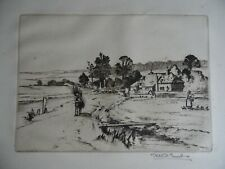 Returning Home, Rural Farm View. Robert H. Smith Signed Etching