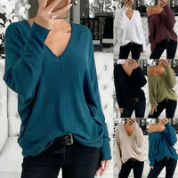 Women's Ladies Casual Baggy  Solid V-neck Long Sleeve Blouse Pullover Tops Shirt