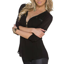 Women Lace Back Hollow Deep V Neck Zipper T Shirt Lace Chiffon Blouse Loose Tops