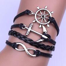 New -Friendship Bracelet  Infinity Anchor Leather Bracelet [4]