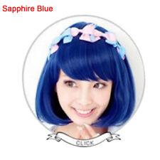 EG_ AM_  Straight Blue New Bob Anime Short Women Wig Cosplay Costume Heat Full H