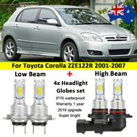 4x LED Headlight Globes High Low beam For Toyota Corolla ZZE122R 2002 2003 2004