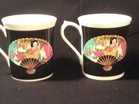 """Lot 2 Queen's China J.W. Bradley """"Oriental Fan"""" 3 3/8"""" Tea Cups/Mugs - Mint"""