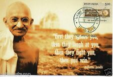"INDIA 2015 GANDHI CHARKHA MAXIM PICTURE POST CARD ""IGNORE LAUGH FIGHT & YOU WIN"""