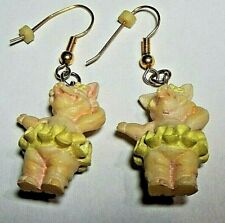 Pig Pierce Earrings Pair Hangs 2 inch Vintage