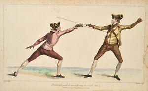 Angelo 1763 L'Ecole des Armes Fechten Fencing Escrime Plate 7 Original antique