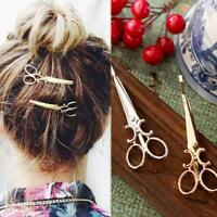 Scissor Shaped Women Shiny Golden Silver Hair Clips Hairpins Accessories w/