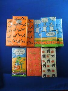 Lot of 9 Halloween Hand Tissue Kleenex Paper- Bats, Cats, Ghost Pumpkins etc