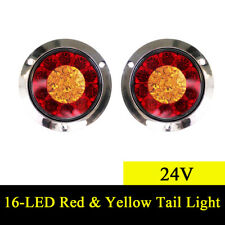 2X 16 LED Red & Yellow Round Trailer Truck Rear Tail Lights Back-up Reverse Lamp