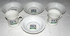 "Vandor Country Cow - Four 6.3/4"" Cereal Bowls and Two 3.3/4"" Mugs - Excellent"