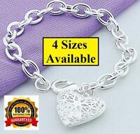 """925 Sterling Silver Womens Heart Photo Locket Link Chain Bracelet 6"""" 7"""" 7.5 D551"""