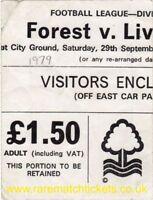 original 1979-80 division 1 NOTTINGHAM FOREST LIVERPOOL (champions) ticket