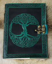 Hand Bound Supple Embossed Real Leather Tree of Life Journal w Brass Clasp