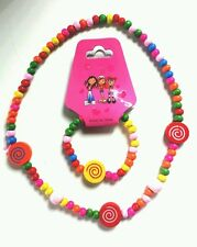 Childrens wooden lollypop Necklace and Bracelet....candy colours...UK SELLER