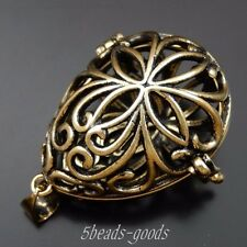 1 pc Antiqued Bronze Brass Hollow Mexican Bola Bell Pendants Locket Charms 39675