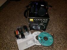 Nikon COOLPIX L810 16.1MP Digital Camera - Blue, tested w/box cables,software