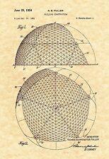 Patent Print - Geodesic Dome Buckminster Fuller - Ready To Be Framed!
