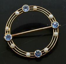 Antique 14K gold elegant .40CTW Blue sapphire & 2mm pearl circle wreath brooch
