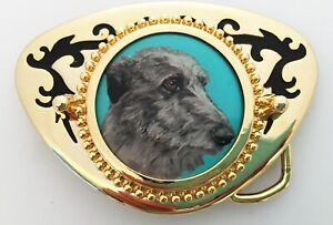 Scottish Deerhound Dog Original Art Western Belt Buckle