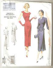Vogue Sewing Pattern V1136 Reissue Vintage 1945 Design Jacket & Dress Sz 14-20