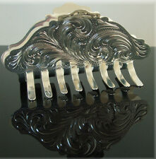 Fancy Silver Hair Clip Barrette Engraved Gold Horse Show Rodeo Hand Engrave