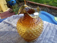 Indiana Glass TIARA Amber Dark Honey Hobnail Vase w/Twisted Top
