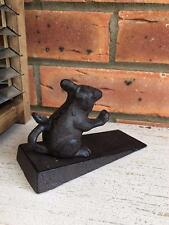 Rustic Cast Iron Door Stop Mouse Wedge Black Metal Stopper Shabby Vintage Style