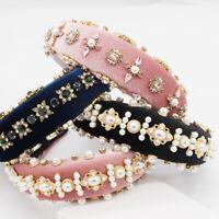 Baroque Ladies Padded Jeweled Headband Pearl Hair Band Embellished Crown Tiara