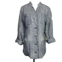 Chico's 2 Navy Striped Sheer Linen Button Roll-Tab Sleeve Jacket Lightweight