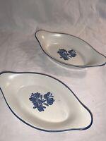Vintage Pfaltzgraff Yorktowne Serving Dishes Bowls Augratin Blue 8oz Lot Of 2