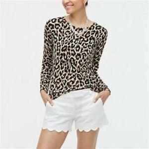 J. Crew White Scallop Linen cotton blend women's Shorts Size 2 Casual Pockets