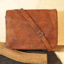 """Vintage Leather Laptop Bag 15"""" Messenger Handmade Briefcase Cross body Shoulder"""