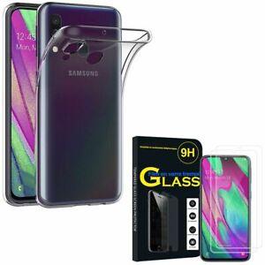 """Coque Silicone Ultra Fine, Verre Trempé Pour Samsung Galaxy A40 5.9"""""""
