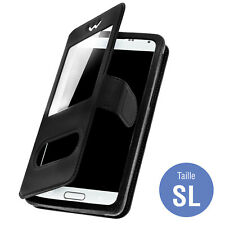 Double window flip standing case for 3.8''- 4.3'' Smartphones, TPU shell - Black