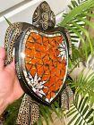 Turtle Mosaic Wood Carving Wall Garden Hanging Statue Orange By Zenda Imports