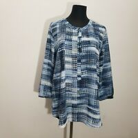 NYDJ Womens Blouse Top PXL Popover Ikat Checker Abstract Lightweight Blue White