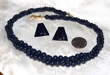 VTG NAPIER  NAVY TWISTED 3 STRAND LUCITE BEAD NECKLACE+ NAVY POST EARRINGS NICE