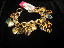 BETSEY JOHNSON LEOPARD HEART LOCKETS BRACELET