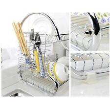 2-Tier S design Stainless Steel Kitchen Dish Cup Drying Rack Holder
