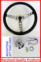 "Chevy Pick Up Blazer GT Black Retro Steering Wheel 14 1/2"" Red/Black center cap"