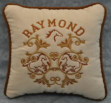 """Embroidered Personalized Horse Pillow made w Faux Cream Suede Fabric 12"""" cording"""