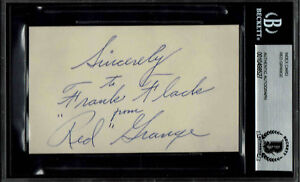 RED GRANGE SIGNED INDEX CARD AUTOGRAPHED  BECKETT BAS
