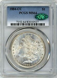 1884-CC PCGS/CAC MS-64 Morgan Silver Dollar ~ AN ALL WHITE BEAUTY ~ STARTS AT 1c