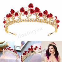 Rose Crystal Rhinestone Bridal Tiara Wedding Princess Crown Prom Hair Tiara  #