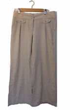 Wide Leg Linen Blend Regular Size 30L Trousers for Women