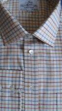 """Harvie & Hudson 19""""/35"""" Algodón Cepillado Marrón/Azul Camisa De Cuadros S/Brazalete mediano"""