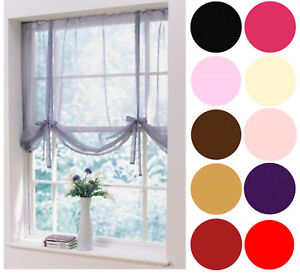 """Voile Plain Dyed Tied Blind Curtain Panels 59"""" Wide x 54"""" Drop in 12 Colours"""