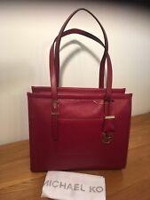 Michael Kors Darien Medium Tote Cherry Red Leather Handbag Satchel