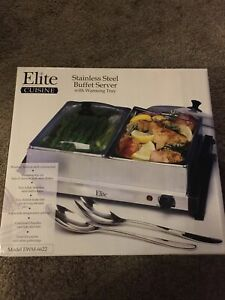 Elite Cuisine Stainless Steel Buffet Server Two 2.5qt Trays Warming Tray W/ Lids